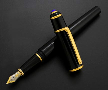 cartier diabolo black gold fountain Pen